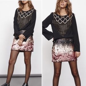 MINKPINK Ombré Moon Dust Sequin Mini Skirt Small